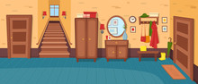 Cartoon Hallway Background. Panorama With Stairs, Doors, Wardrobe, Chest Of Drawers, Mirror, Coat Rack With Clothes, Umbrella.Vector Illustration In Cartoon Flat Style.