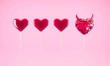 Minimal 3D Illustration Of Tasty Sweet Hear-shaped Hard Candies And Lolipops On Pink Background. Valentine's Day Concept.
