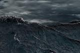 Big waves in a storm across the ocean