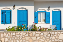 Typical White Greek House With Blue Windows And Doors In Beautiful Sifnos Island. Cycladic Architecture. Greece