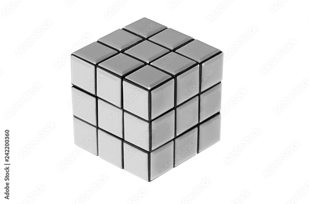 Fototapeta Cube puzzle isolated on white background. This cube puzzle does not exist in real life, it is a photo manipulation.