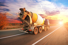 Concrete Mixer Truck On The Co...