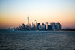 Approaching the Lower Manhatten skyline at sunset from Staten Island, New York City, United States