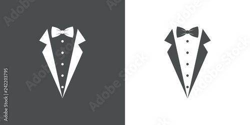 Fotografie, Obraz  Icono plano con corbata de lazo y solapas de chaqueta en gris y blanco