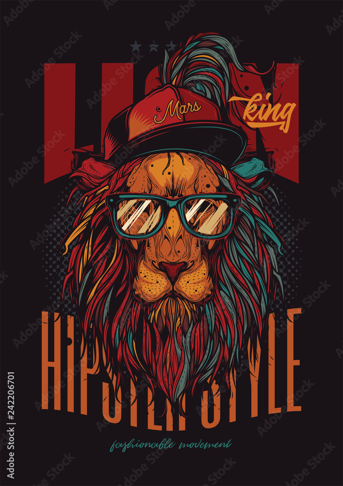 Fototapeta Unique, high quality vector illustration. A hipster lion with a hat and transparent glasses.