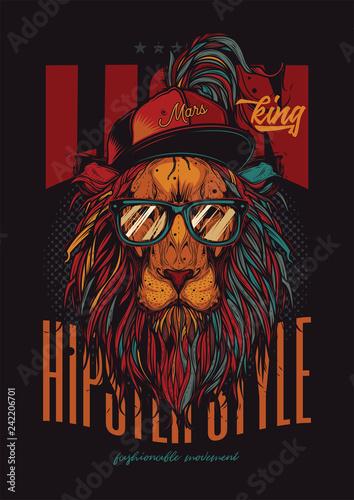 Fototapeta Hipster lew w kapeluszu i tęczowych okularach