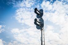 Railway Semaphore On Blue Sky Background. Railway Traffic Light