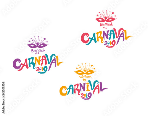 Welcome to Carnival 2019  A set of three bright multicolored
