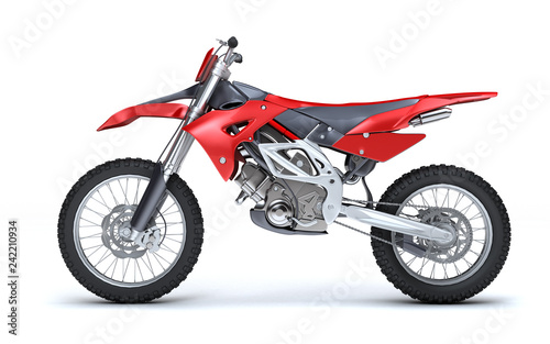 Fotobehang Motorsport 3D illustration of red glossy sports motorcycle isolated on white background. Left side view