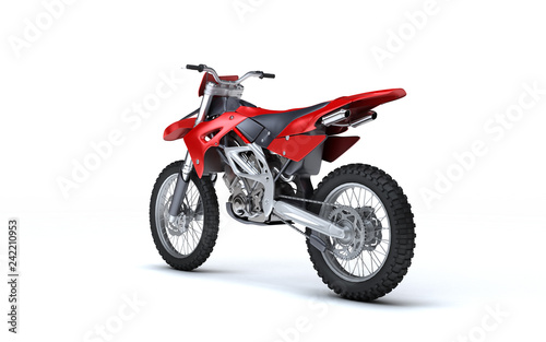 3D illustration of red glossy sports motorcycle isolated on white background. Perspective. Rear side view. Left side