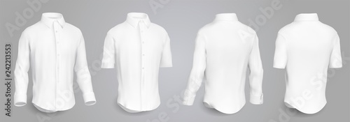 Fotografia White male shirt with long and short sleeves and buttons in front, back and side view, isolated on a gray background