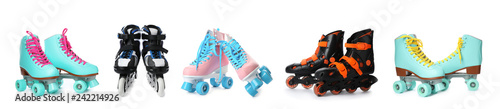 Set with different roller skates on white background