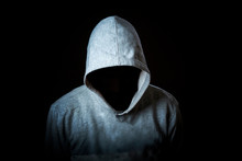 Faceless Incognito Man Wear Hood On Dark Background Isolated B