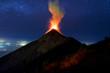 Fuego Volcano erupting at night in Antigua Guatemala