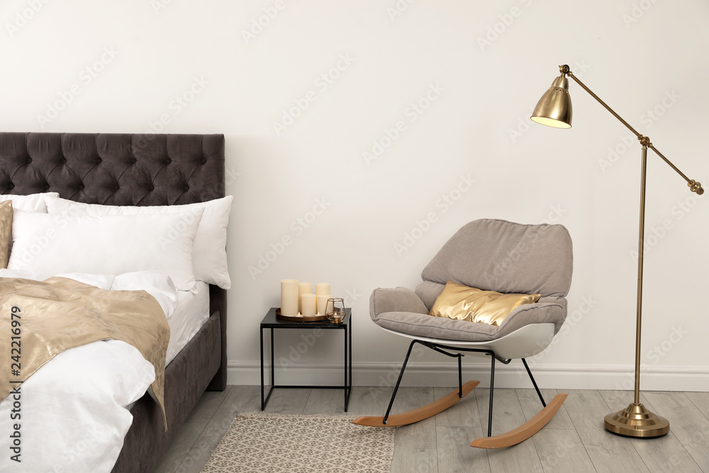 Fototapety, obrazy: Stylish room interior with comfortable bed