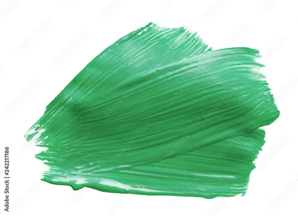 Fototapety, obrazy: Abstract brushstroke of green paint isolated on white
