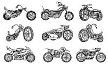 Set Of Vintage Motorcycles. Co...