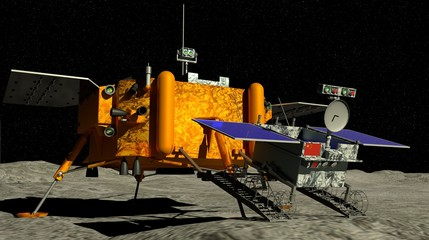 Yutu 2 Lunar rover descendant of the China`s Chang e 4 lunar probe landed on the surface of the moon on January 3, 2019 with the sun in the background. 3D illustration
