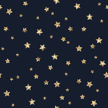 Gold Glitter Stars Seamless Pattern - Scattered Gold Glitter Stars On Faded Navy Blue Background Seamless Pattern