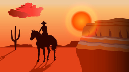 Silhouette of a cowboy riding a horse at sunset - vector background