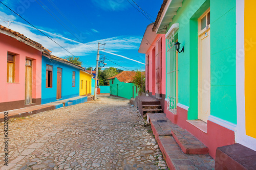 Fotografie, Tablou  Colonial town in Cuba with colorful houses
