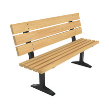 Realistic Wooden Park Bench. Perspective View Vector Illustration.