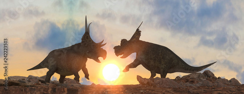 battle of dinosaurs render 3d
