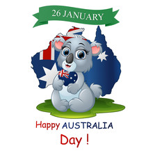 Happy Australia Day Poster With A Funny Koala On Map Background
