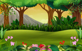 Panoramic green forest landscape with mountain background