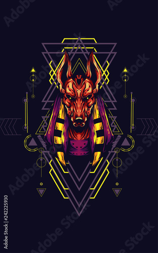 Anubis Sacred Geometry Canvas Print