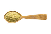 Mustard Powder In Wooden Spoon Isolated On White Background. Spice For Cooking Food, Top View.