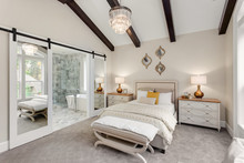 Bedroom And Master Bathroom In New Luxury Home