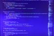 canvas print picture - Programming Javascript on laptop computer screen Trendy design, Computer codes operator development style. Screens concept design. Real software development code.