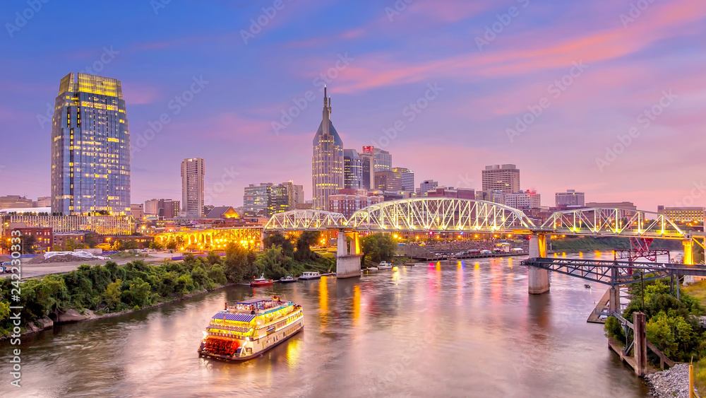 Fototapety, obrazy: Nashville, Tennessee downtown skyline at twilight