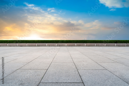 Photo Stands Blue jeans Empty Plaza Bricks and Sky Cloud Landscape..