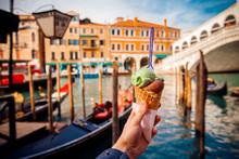Hand Man Holds An Italian Ice ...