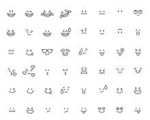 Set Of Emoticon. Cartoon Face Vector Illustration