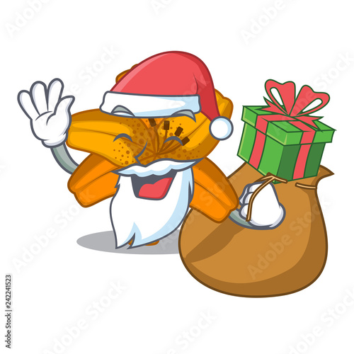 Fotobehang Beren Santa with gift tiger lily flower isolated on mascot