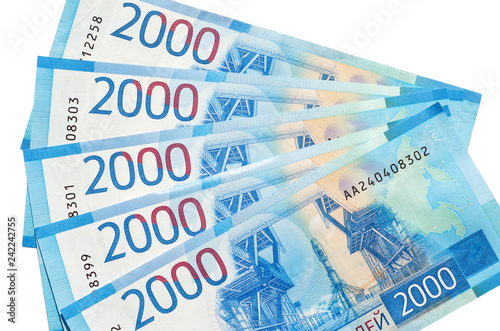 Fotografia  Russian money. New banknotes of 2000 rubles on a white background