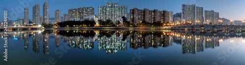 Foto op Aluminium Aziatische Plekken Shatin City at Night Reflection, HK.