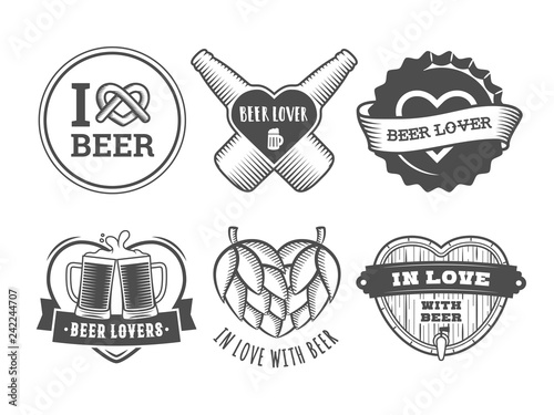 Vászonkép Beer lover badges