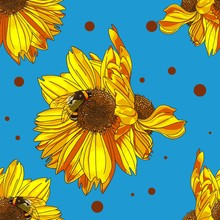Bumble Bee On Sunflower. Blue Background. Seamless Pattern