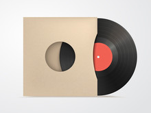 Classic Design Template With Vinyl And Cover Mockup On White Bac