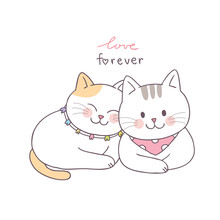 Cartoon Cute Valentines Day Couple  Cats Vector.