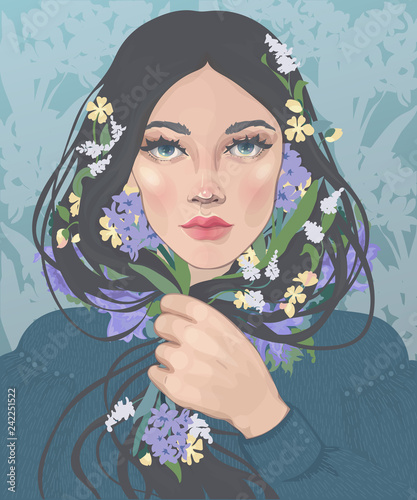 Fotografie, Obraz vector  of a beautiful dark-haired girl with blooming spring flowers in curls
