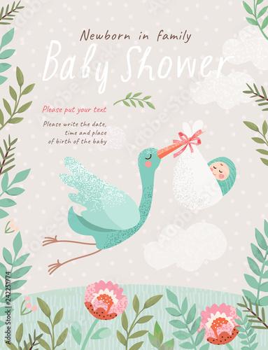 Obraz na plátně Baby Shower Invitation template with cute illustration of a stork with a newborn