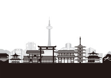 Kyoto Landmark Buildings. Vector Illustration.