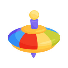 Flat Vector Icon Of Children Whirligig Toy. Plastic Rainbow-colored Humming Top