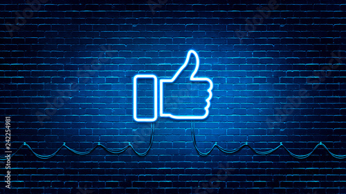 Neon Glowing Like (thumb) Button for Social Media on Brick Wall Canvas Print