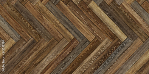 Fotografía  Seamless wood parquet texture horizontal herringbone brown common